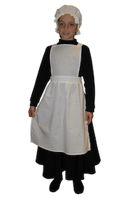 Girls Victorian Maids Pinafore Apron & Mop Hat Victorian Edwardian School Trips