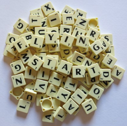 New Mini Scrabble Tiles – Black printing on Ivory tiles – 100 pieces