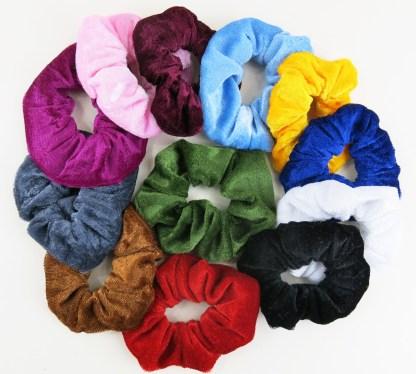 12 Velvet Hair Bands Scrunchie Ponytail Holder Soft Velveteen