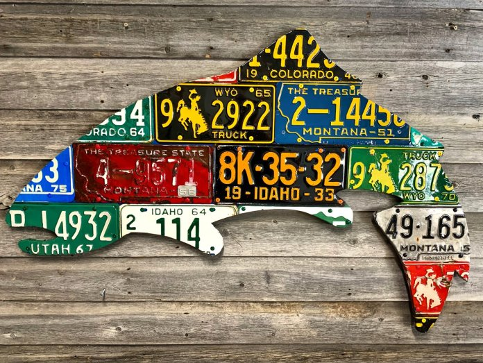 Custom fish license plate sculpture by Cody Richardson