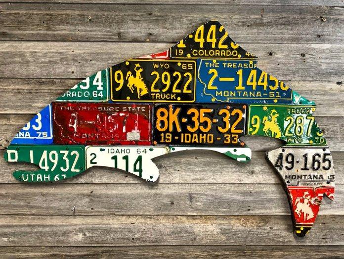 Custom fish license plate sculpture by Cody Richardson
