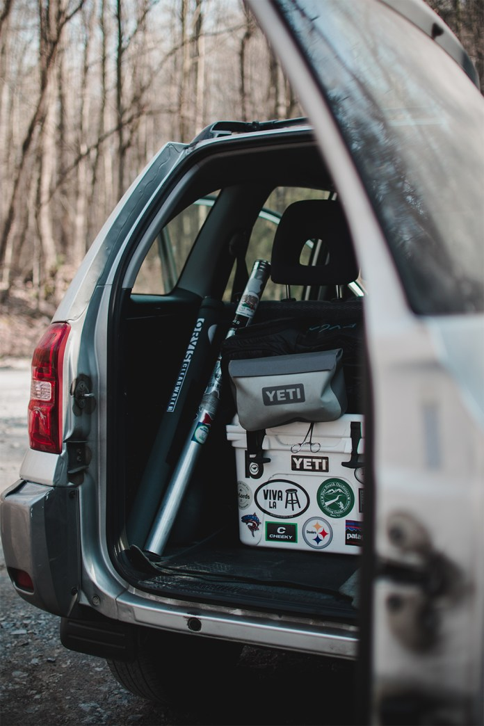 Pack the car full of snacks and beverages for a first time fishing trip