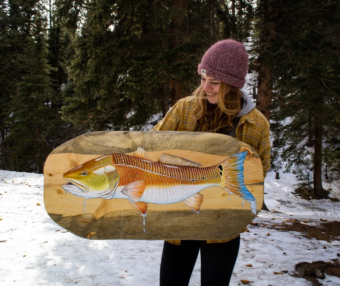 A n acrylic painting of a Redfish painted on recycled pine beetle kill wood