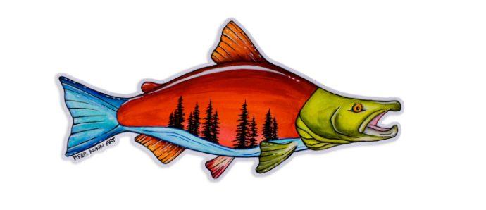 A sockeye salmon sticker