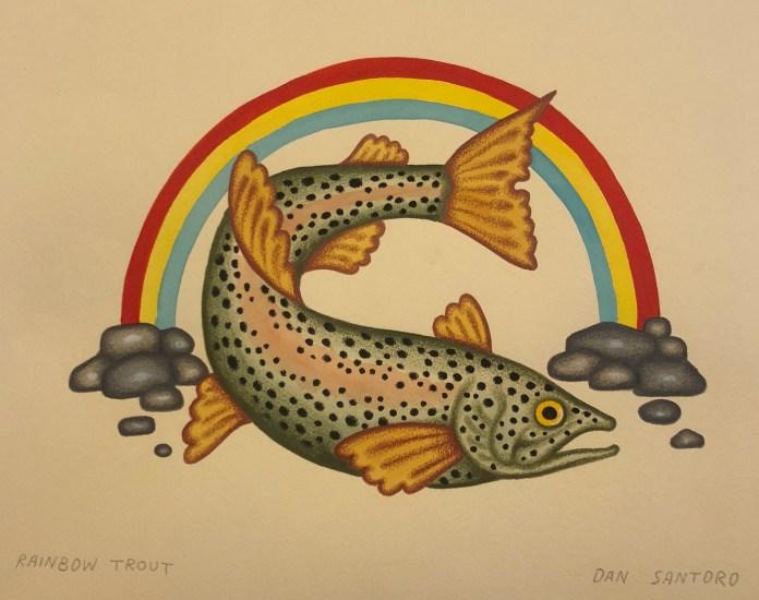 Dan Santoro Rainbow Trout painting orignal art