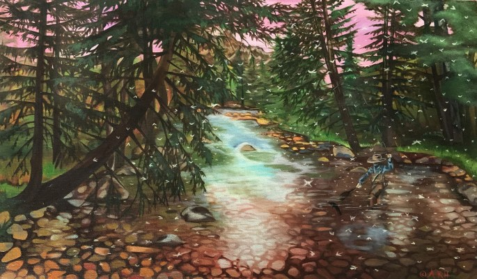 Painting of angler wading in Gore Creek, with adult flies flying around.