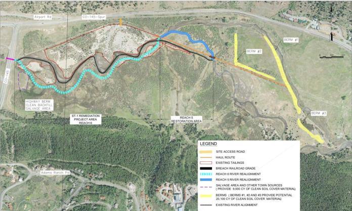 The most current version of a map showing the San Miguel river restoration project. Here you can see both the new and the old river channels, the tailing piles, the berms, and the construction sites/roads.<br />