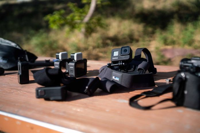 gopro equipment on the table