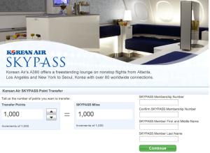 Ultimate Rewards transfer to Korean Air