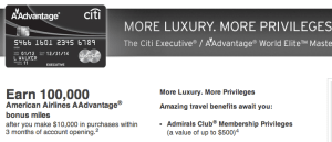 Citi Executive AAdvantage World MasterCard 100k Offer