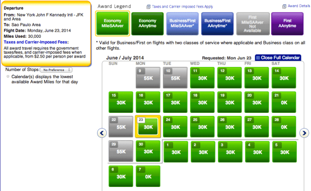 Availability in Economy from JFK-Sao Paulo