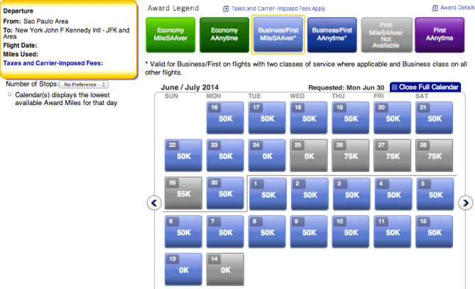Plenty of business class still available on the return trip from Sao Paulo. Economy options also available.