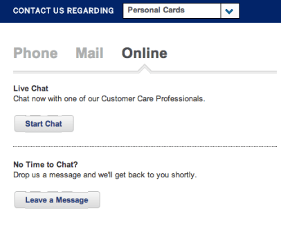 "For Amex's live chat, click ""contact us"" and then the ""online"" tab to chat with a representative - it's that easy!"