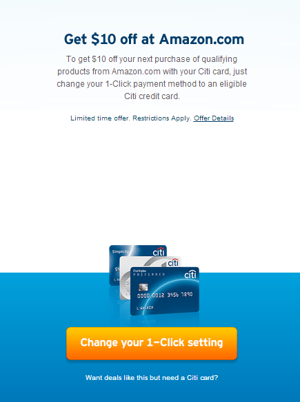 $10 Free Amazon Credit w/ 1-Click Payment (Citi Credit Card Required)