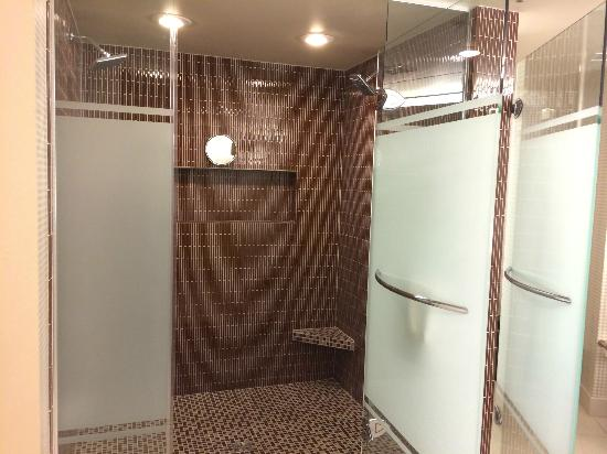 The master bedroom's double shower