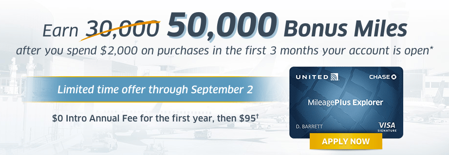 Chase United MileagePlus Explorer Increased Sign Up Bonus: 55,000 Points + $50 Statement Credit