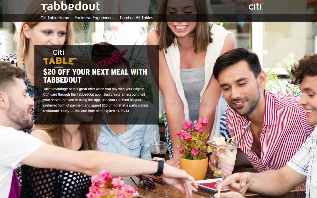 $20 off your next restaurant bill with Citi® and TabbedOut