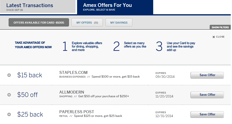 Targeted $15 Off $100 Amex Staples Offer