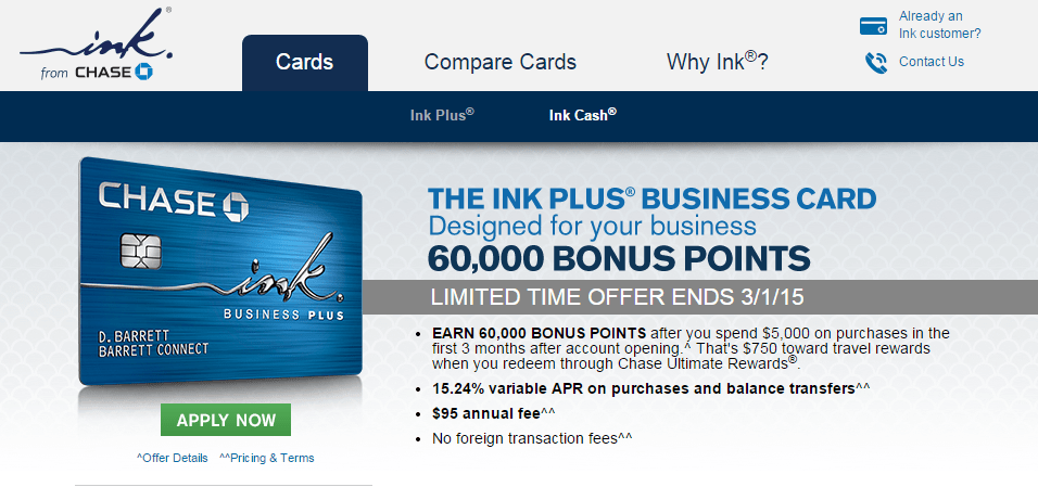 Increased offer chase ink plus 60000 point sign up bonus flymiler to find this offer and other great credit card offers view top credit card offers and click on business cards to find the chase ink plus colourmoves