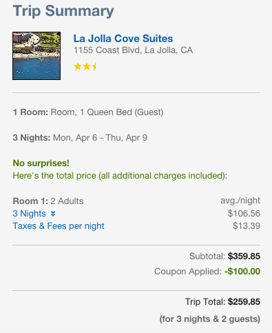 Stay at this beautiful hotel in San Diego that normally runs $287 per night but is discounted to $107 per night plus the $100 off with the promo code!