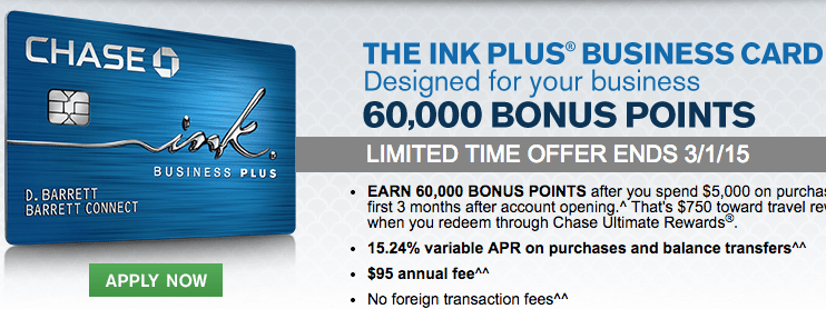 Last Day for Increased Offer: Chase Ink Plus 60,000 Point Sign Up Bonus!