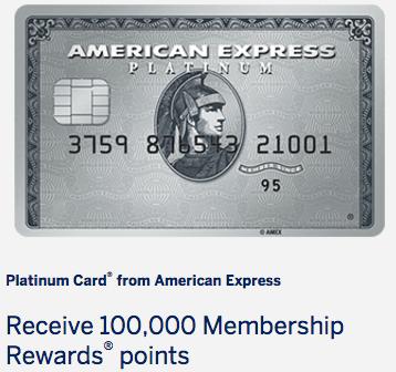 HOT! 100K American Express Platinum Card Offer