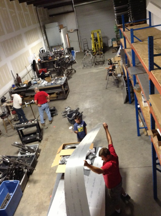 Bird's Eye view of the new shop. Welding on the right, and parts storage on the left. Packing and shipping in the back.