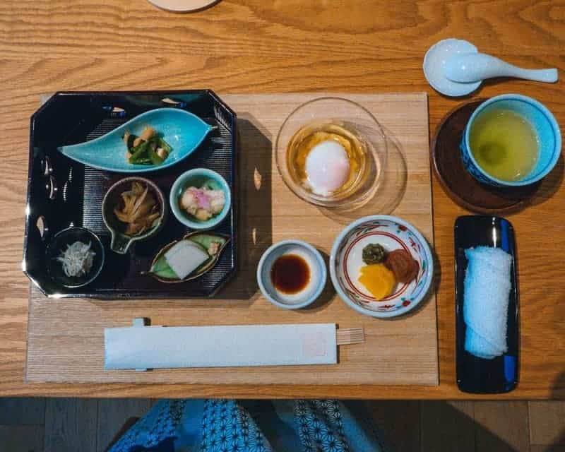 Traditional kaiseki evening meal at Onsen Spa Retreat