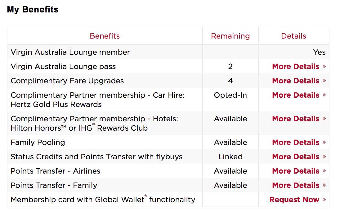 Table of Virgin Australia frequent flyer benefits