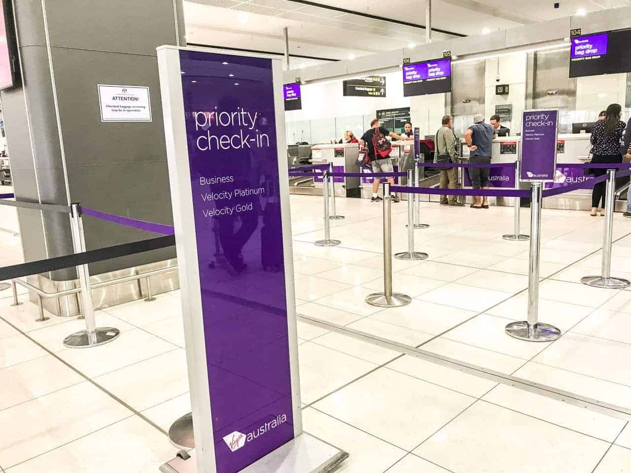Virgin Australia priority check-in line at airport