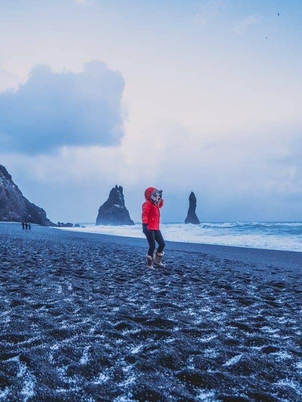 Iceland Black Beach Reynisdrangar Girl Fly Stay Luxe