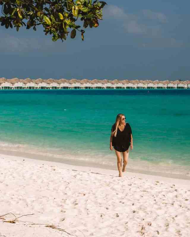Stunning overwater bungalows, turquoise lagoons and white sand beaches in the Maldives.