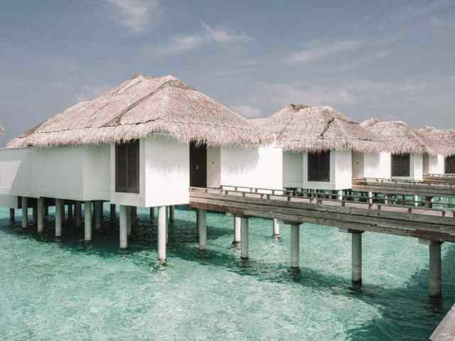 The beautiful overwater bungalows at Finolhu Resort in the Maldives