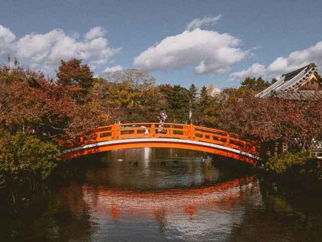 Japanese orange foot bridge in Kyoto, Japan