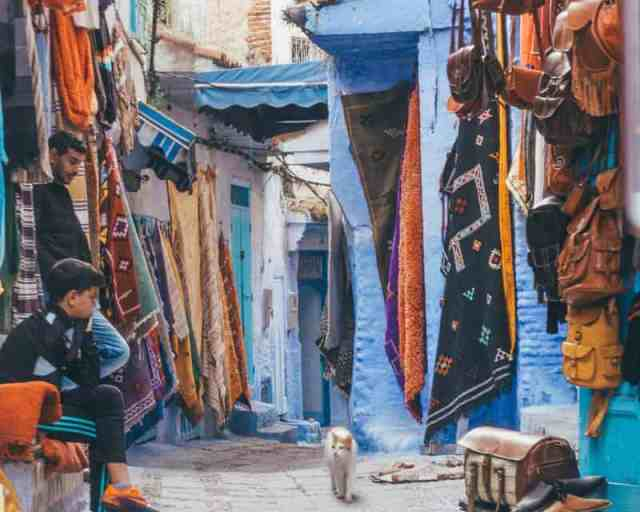 A cat wanders through the souks lined with Moroccan rugs in Chefchaouen, the Blue City.