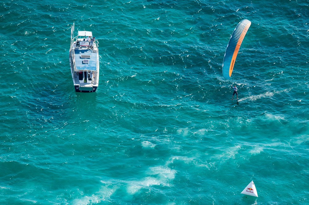 Olly Bridge crosses the finish line, Red Bull Lighthouse to Leighton. Photo: Peta-Anne North