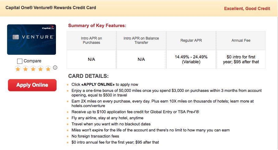 Capital One Venture Card Details
