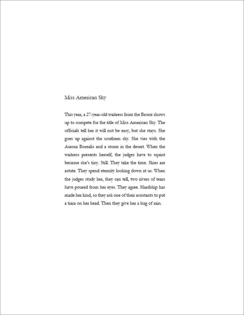 Chad Hanson's poem, Miss American Sky