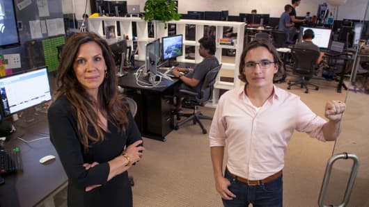 Karen White, left, president and chief operating officer of Addepar, a wealth management company, and its chief executive, Eric Poirier, at company headquarters in Mountain View, Calif., July 16, 2014.