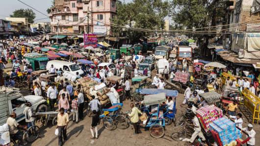 Traffic congestion in Delhi, India.