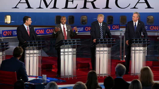 Republican presidential candidates U.S. Sen. Ted Cruz , Ben Carson, Donald Trump and Jeb Bush participate in the presidential debates at the Reagan Library on September 16, 2015 in Simi Valley, California.