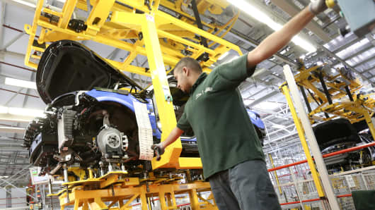 A Range Rover Sport SUV on the production line at car manufacturing plant in Solihull, U.K.