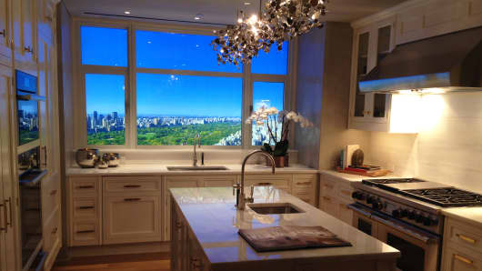 Kitchen display at the newly opened sales center for 520 Park Avenue, New York.