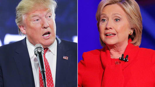 Image result for images of Hillary Clinton vs. Trump