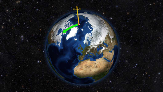 Earth does not always spin on an axis running through its poles. Instead, it wobbles irregularly over time, drifting toward North America throughout most of the 20th Century (green arrow). That direction has changed drastically due to changes in water mass on Earth.
