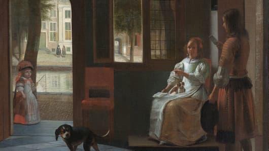 """Man hands a letter to a woman in a hall"" by Pieter de Hooch"