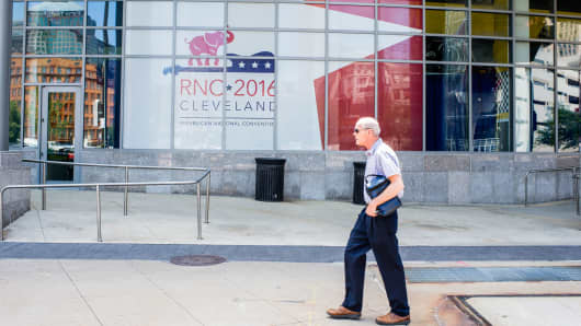 A man walks past the Quicken Loans Arena on July 11, 2016, in Cleveland, Ohio.