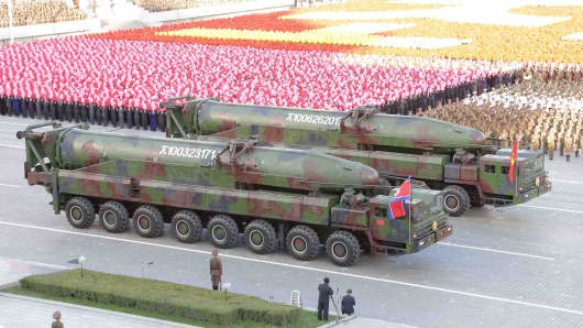 North Korean military participate in the celebration of the 70th anniversary of the founding of the ruling Workers' Party of Korea, in this undated photo released by North Korea's Korean Central News Agency (KCNA) in Pyongyang on October 12, 2015.