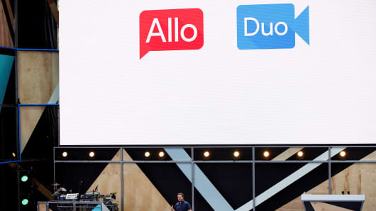 Erik Kay, technical director of Google, introduces Allo and Duo on stage during the Google I / O 2016 developer conference in Mountain View, California, May 18, 2016