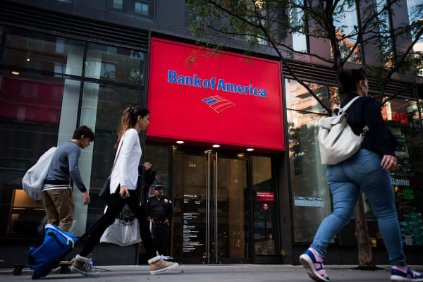 Pedestrians pass in front of a Bank of America Corp. branch in New York, U.S., on Wednesday, Oct. 12, 2016.
